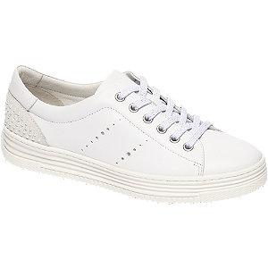 Witte leren sneaker parels