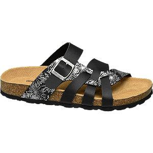 Zwarte sandaal leren voetbed Graceland maat 39