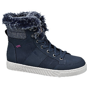 Donkerblauwe halfhoge sneaker bont