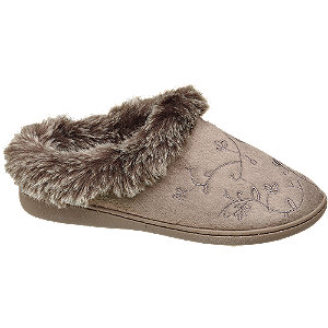Taupe instap pantoffel