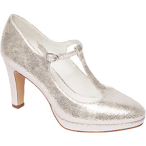 Zilveren glitter pump gespsluiting Graceland maat 38