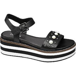 Zwarte sandalette parels Graceland maat 38