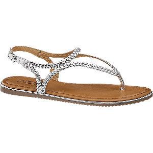 Zilveren sandaal leer 5th Avenue maat 36
