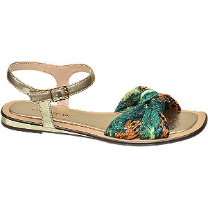 Groene sandaal slangenprint