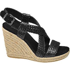 Zwarte sandalette vlechtwerk