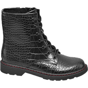 Zwarte veterboot crocoprint