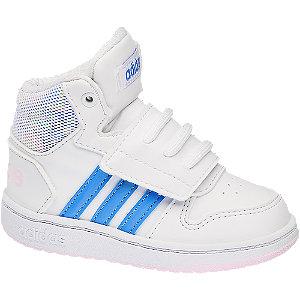 Levně Bílé dětské kotníkové tenisky Adidas Hoops Mid 2.0 Inf