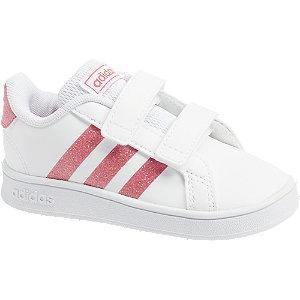 Levně Bílé dětské tenisky na suchý zip Adidas Grand Court I