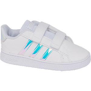 Levně Bílé dětské tenisky na suchý zip Adidas Grand Court Inf