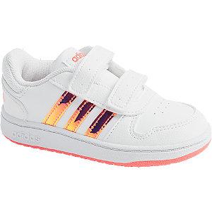 Levně Bílé dětské tenisky na suchý zip Adidas Hoops 2.0 CMF I