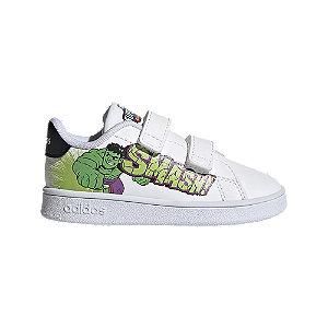 Levně Bílé dětské tenisky na suchý zip adidas ADVANTAGE I