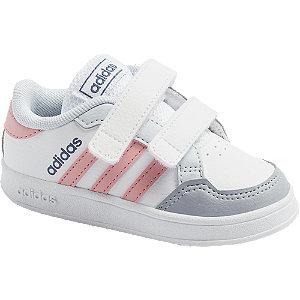 Levně Bílé dětské tenisky na suchý zip adidas Breaknet I