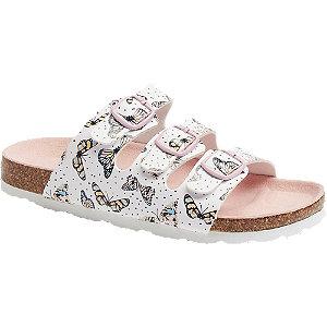 Levně Bílé dívčí pantofle Graceland s motýly