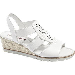 Levně Bílé kožené komfortní sandály na klínku Medicus