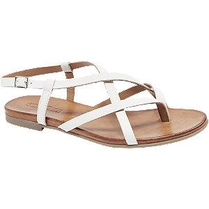 Levně Bílé kožené sandály 5th Avenue