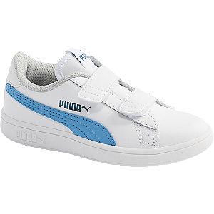 Levně Bílé kožené tenisky na suchý zip Puma Smash V2 L PS