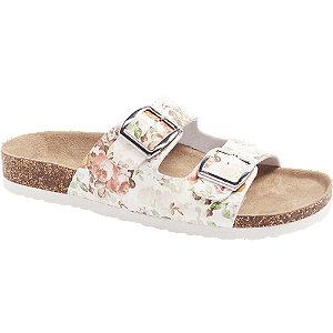 Levně Bílé květované pantofle Björndal