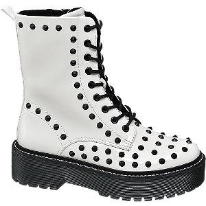 Levně Bílá šněrovací obuv Rita Ora se zipem