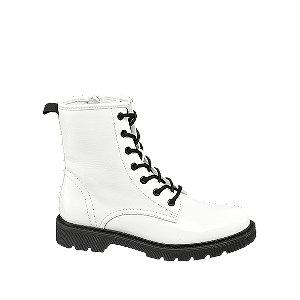 Levně Bílá šněrovací obuv se zipem Catwalk