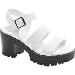 Levně Bílé sandály na podpatku Catwalk