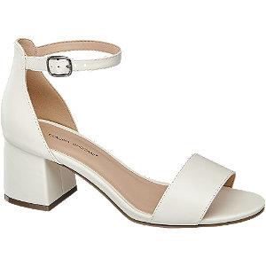 Levně Bílé sandály na podpatku Claudia Ghizzani