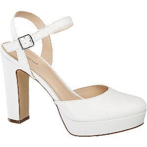 Levně Bílé sandály na podpatku Graceland
