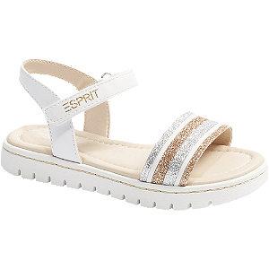 Levně Bílé sandály s metalickými proužky Esprit