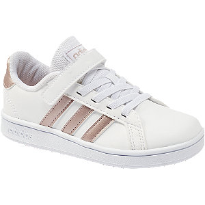 Levně Bílé tenisky na suchý zip Adidas Grand Court