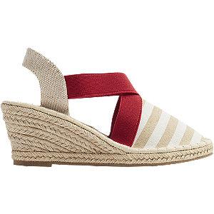 Levně Bílo-béžové sandály na klínku Claudia Ghizzani