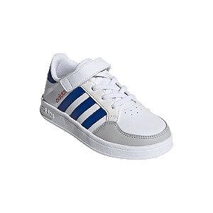 Levně Bílo-modré tenisky na suchý zip adidas Breaknet C