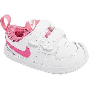 Levně Bílo-růžové dětské tenisky na suchý zip Nike