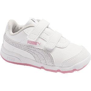 Levně Bílo-růžové dětské tenisky na suchý zip Puma