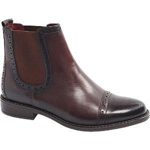 Levně Bordó kožená Chelsea obuv 5th Avenue