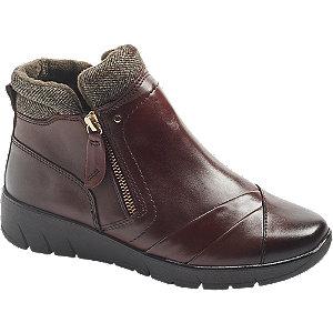 Levně Bordó kožená komfortní obuv se zipem Medicus