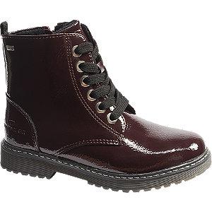 Levně Bordó lakovaná šněrovací obuv se zipem Tom Tailor s TEX membránou