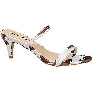 Levně Bordó-bílé pantofle na podpatku Vero Moda