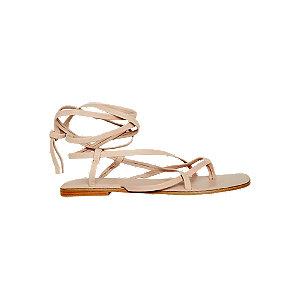 Levně Béžové kožené sandály Vero Moda