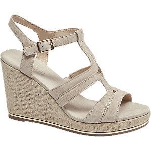 Levně Béžové kožené sandály na klínovém podpatku 5th Avenue