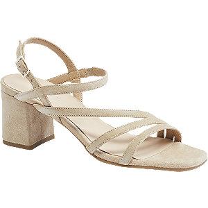Levně Béžové kožené sandály na podpatku 5th Avenue