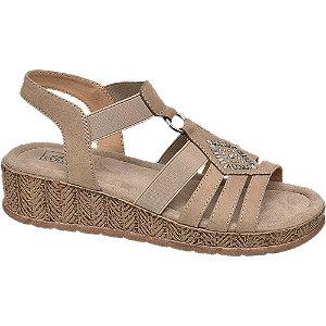 Levně Béžové komfortní sandály na klínku Easy Street