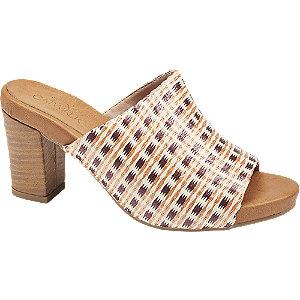 Levně Béžové pantofle na podpatku Graceland