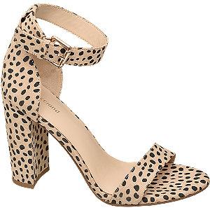 Levně Béžové sandály na podpatku Graceland se zvířecím vzorem