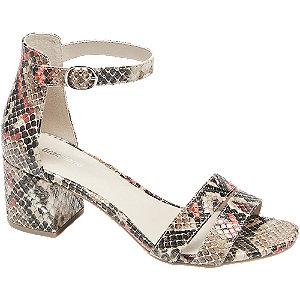 Levně Béžové sandály na podpatku s hadím vzorem Graceland