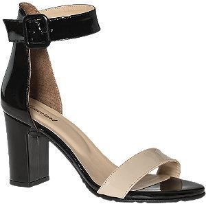 Levně Béžovo-černé lakované sandály na podpatku Graceland
