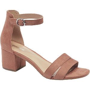Levně Cihlově červené sandály na podpatku Graceland