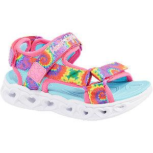 Levně Duhové sandály se svítícími srdíčky Skechers