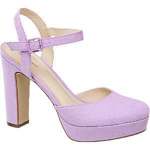 Levně Fialové sandály na podpatku Graceland