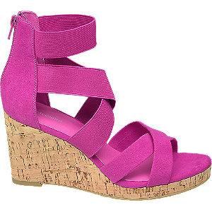 Levně Fuchsiové sandály na klínku Graceland
