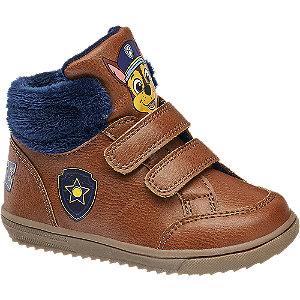 Levně Hnědá dětská kotníková obuv na suchý zip Tlapková patrola