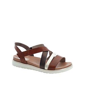Levně Hnědé kožené komfortní sandály Rieker